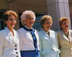 Although all four were Republicans, Pat Nixon, Betty Ford, Nancy Reagan and Barbara Bush each shook hands and briefly met Mrs. Roosevelt and later spoke of their admiration for her., (Nixon Foundation)