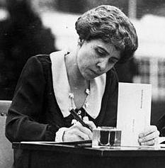 Grace Coolidge filling out her absentee ballot. (LC)