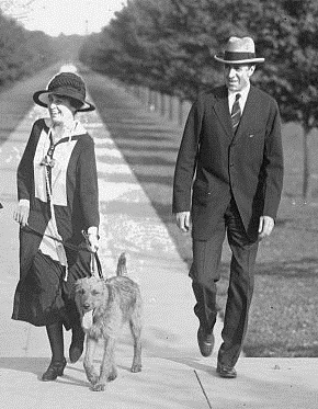 Along with her Secret Service agent Jim Haley, Grace Coolidge walking the Harding dog Laddie Boy, who was soon after given by Mrs, Harding to her Secret Service agent Harry Barker. (carlanthonyonline.com)