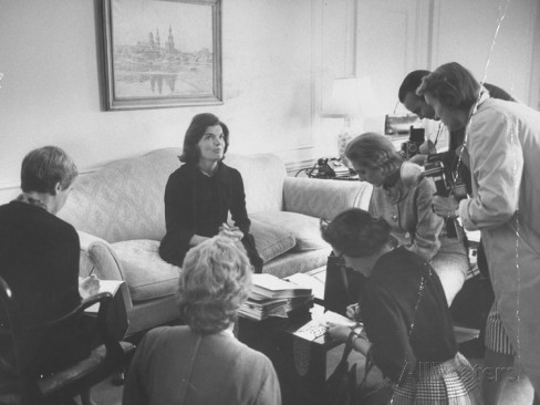 Jackie Kennedy conducts a press conference during the 1960 campaign. (all posters)