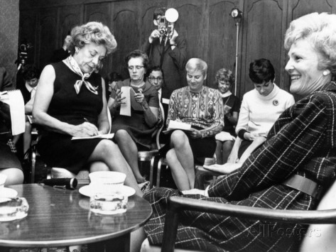 Pat Nixon conducting a press conference during her husband's 1968 presidential campaign. (allposters.com)