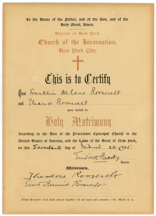 Theodore and Edith Roosevelt and her husband signed the marriage certificate of Franklin and Eleanor Roosevelt. (FDRL)
