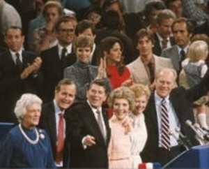 Betty Ford and her husband joined Nancy Reagan, Barbara Bush and their husbands on the podium on the last night of the convention. (Getty)