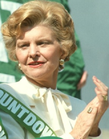 Betty Ford at a 1981 rally for the Equal Rights Amendment wearing the color white, intended to signify her allegiance to the feminist movement. (Getty)