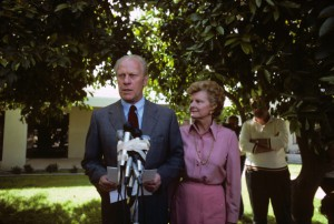 On March 15, 1980, with his wife Betty at his side, former President Gerald Ford announces that he would jump into the state primaries of the already ensuing Republican presidential primary race and seek the nomination. (Getty)