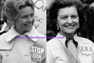 The Stop ERA activist Phyllis Schafly and Ratify ERA First Lady Betty Ford. (carlanthonyonline.com)