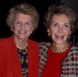 Betty Ford and Nancy Reagan both attended a fundraiser luncheon for the Children's Institute together at the Beverly Hills Hotel, February 14, 1992.