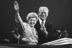 The Fords appearing at the  podium during the week of the 1980 Republican Convention. (AP)