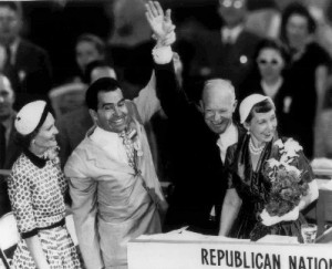 Pat Nixon and Mamie Eisenhower were the first spouses who appeared on the public podiums, joining their husbands, the vice-presidential and presidential nominees, at the 1952 National Republican Convention. (AP)