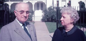 Harry and Bess Truman in front of their Missouri home. (NPS)