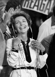 Nancy Reagan being cheered at the 1976 convention. (Boston Globe)