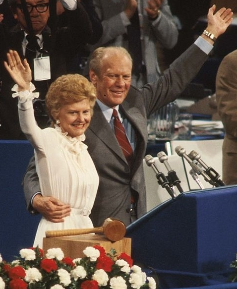 Betty Ford signaled her protest of the 1980 convention stance on the ERA by wearing her white dress before the whole convention. (Getty)