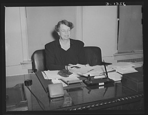 Mrs. Roosevelt in her Office of Civilian Defense office, (LC)