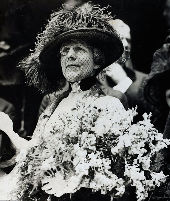 A smiling Florence Harding at the 1920 convention after her husband was nominated for the presidency. (Brown Brothers)