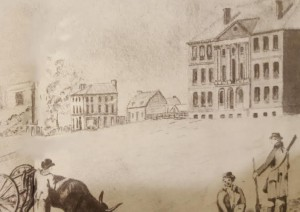 An 1803 watercolor of the White House also shows nearby the first residences of F Street, where the Madisons lived (Huntington Library)