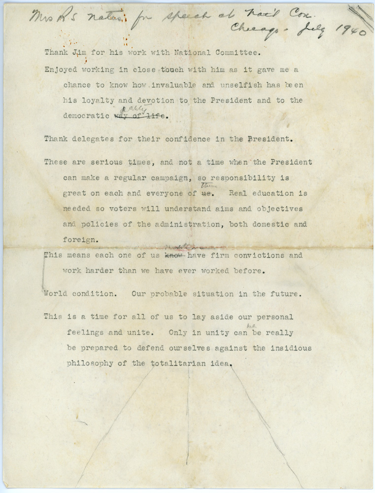 The single page of typed notes Eleanor Roosevelt glanced at as she extemporaneously  delivered her speech. (FDRL)