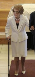 Nancy Reagan attending the 2011 funeral of Betty Ford. (UPI)