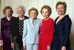 Betty Ford in blue, Nancy Reagan in red, flanked by Rosalynn Carter, Barbara Bush and Hillary Clinton in 2003. (AP)