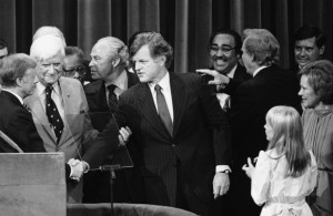 Observing the second handshake between Kennedy and her husband that she prompted, Rosalynn Carter's gesture was cast by the media as her husband having to insist Kennedy show his support. (AP)