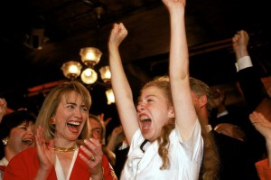 Hillary and Chelsea Clinton on the night Bill Clinton won the nomination. (AP)