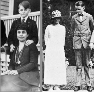 Grace Coolidge and her son Cal at home in 1920 (left) and at the White House in 1924. (Boston Public Library, LC)