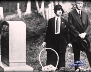 Calvin and Grace Coolidge at their son's gravesite. (LC)