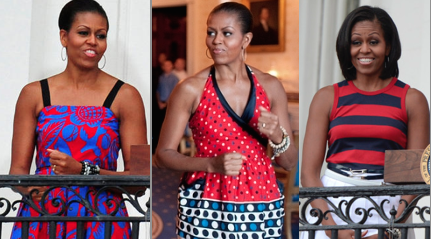 The fashionable First Lady's Fourth of July wardrobes worn to three of the public celebrations she hosted with the President. (WH)