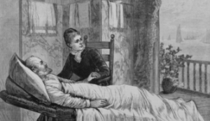 Lucretia Garfield took charge of her wounded husband's sickroom by the time she'd returned to the White House on the Fourth of July 1881. (LC)