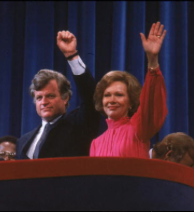 Senator Kennedy and First Lady Carter together on the podium. (Getty)