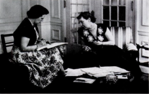 Mamie Eisenhower dictating to her secretary. (Life)