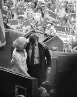 Joan Kennedy comforts her husband Teddy after his convention speech. (Getty)