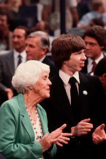 Other members of the First Family attended at the 1980 Democratic National Convention, including the president's mother and son, Lillian and Jeff, but his brother Billy Carter did not appear. (Getty)