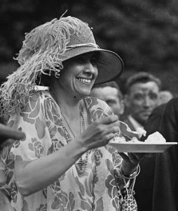 Grace Coolidge at a summer garden party eating ice cream. (LC)