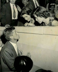 Kennedy speaks with his wife Jackie and sister Eunice at the convention. (Pinterest)