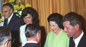 Averell Harriman, Lady Bird Johnson and Robert F. Kennedy joined the widowed Mrs, John F. Kennedy at a reception for delegates to the 1964 Democratic Convention in Atlantic City, New Jersey. (Pinterest)