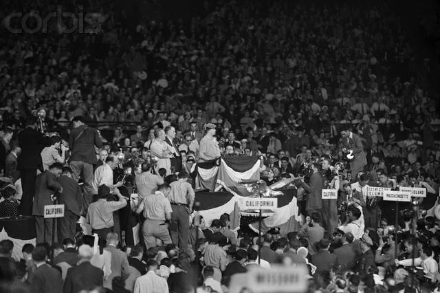 Simply upon entering the arena, Eleanor Roosevelt commanded the entire 1940 Democratic convention's attention. (Corbis)