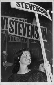 Jackie Kennedy avidly waving a Stevenson picket at the 1956 convention. (AP)