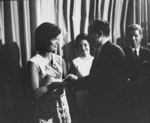 Jackie Kennedy greets the 1964 Democratic vice-presidential nominee Hubert Humphrey at a convention reception. (Pinterest)