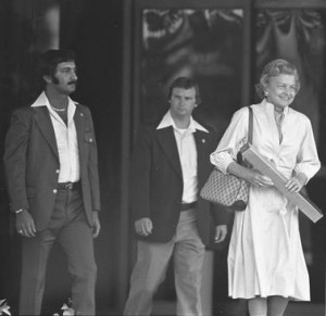 Seen here exiting Long Beach Memorial Naval Hospital after completing a month of addiction recovery, Betty Ford's public disclosure of her alcoholism and prescription medication dependency was a watershed moment n political and cultural history. (UCLA)