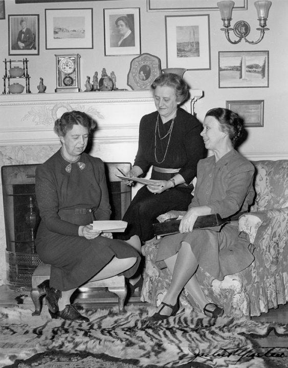 Eleanor Roosevelt with staff members Malvina Thompson and Edith Helm. (FDRL)