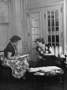 Mamie Eisenhower dictates to secretary Mary Jane McCaffree. (Life)