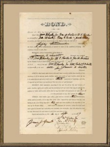 A legal document relating to Saxton family property signed by both William and Ida McKinley. (NFLL)