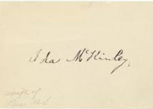 An authentic signature of Ida McKinley. (historyinink.com)
