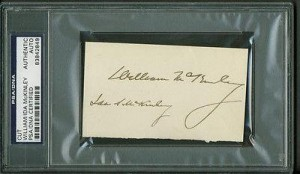 An autograph album clipping showing President McKinley's autograph and his forged one of the First Lady's. (amazon.com)