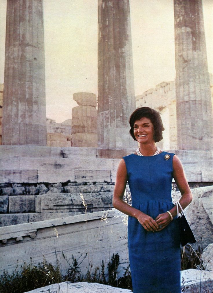 Jacqueline Kennedy tours ancient Greek temples during her first visit to that nation in June of 1961. (AP)