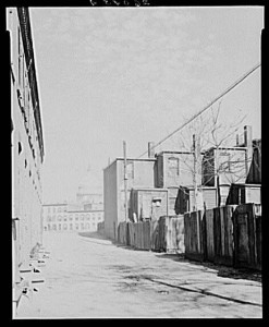 One of the Washington, D.C. alleys where sub-standard dwellings were built to serve as overcrowded homes for some of the city's poorest population. (Library of Congress)