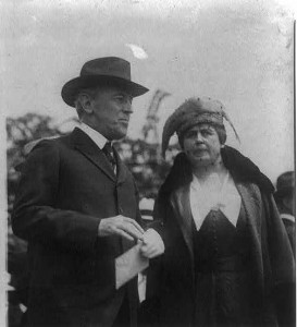 Edith Wilson with the President at the May 15, 1918 ceremony inaugurating air mail service. (LC)