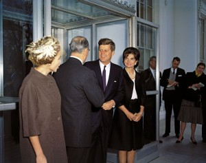 President John F. Kennedy and First Lady Jacqueline Kennedy with Prime Minister of Greece Konstantine Karamanlis and Amalia Karamanlis. (JFKL)