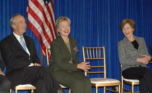 At an October 31, 2007 event, incumbent First Lady Laura Bush and former First Lady, and then U.S. Senator Hillary Clinton, announced the extension of the Preserve America and Save America's Treasures legislation (preserveamerica.gov)