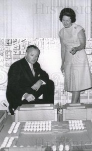 Lady Bird Johnson overlooks a model of proposed urban renewal plans in Washington, with a National Park Service official. (UPI)